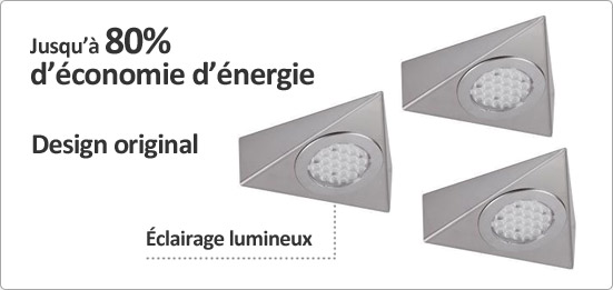 Luisina kit 3 spots triangle led achat vente luisina for Spot de cuisine